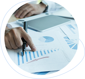 a business person reviewing SEO company reports with graphs