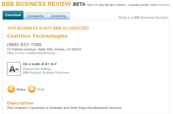 Better Business Bureau A- rating for Coalition Technologies