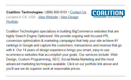 Coalition Technologies featured on the BigCommerce Partner page