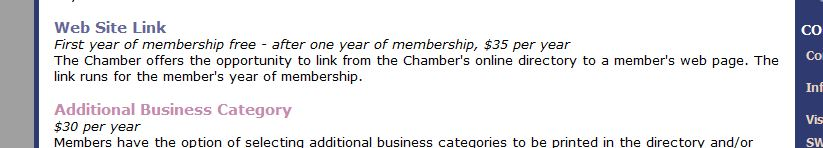Chamber of Commerce Paid Linking Screen Grab
