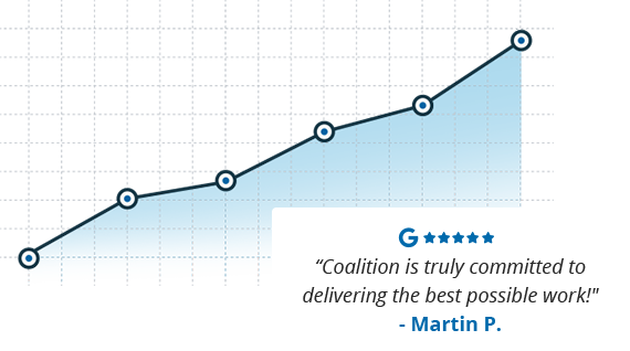 an upwardly trending line graph overlaid by a client testimonial