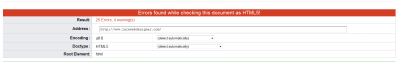 Errors in coding from LA LA Web Design