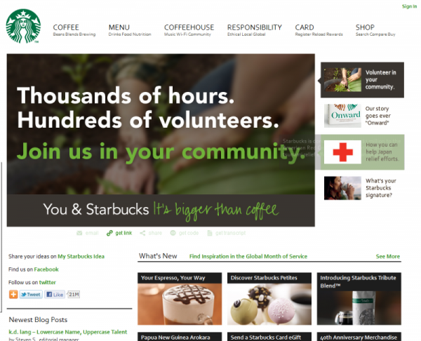 An image of Starbucks' Seattle Representative website
