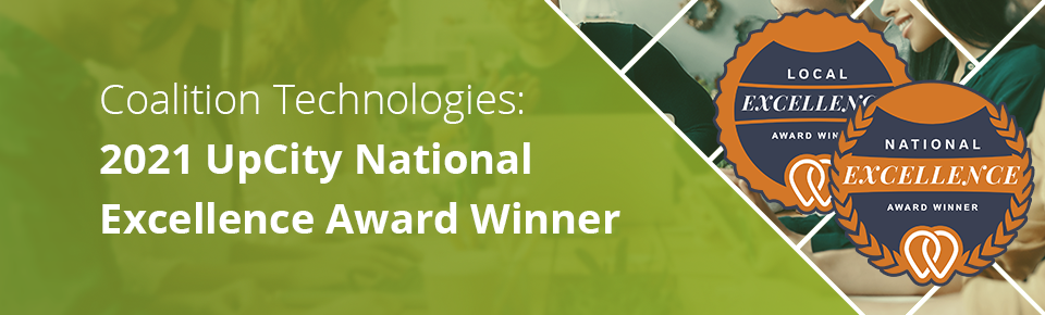 Coalition Technologies 2021 UpCity National Excellence Award Winner