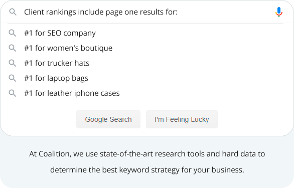 a Google search bar showing Coalition clients' page one results