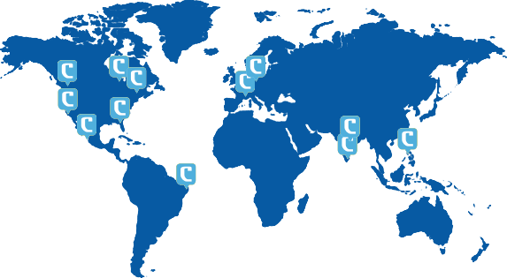 a blue world map showing the locations of Coalition's team members