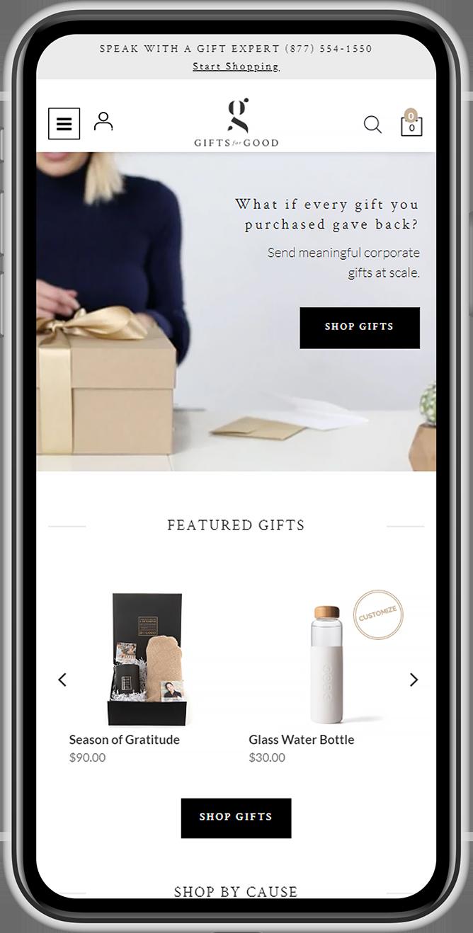 Mobile screenshot of gifts B2B ecommerce website