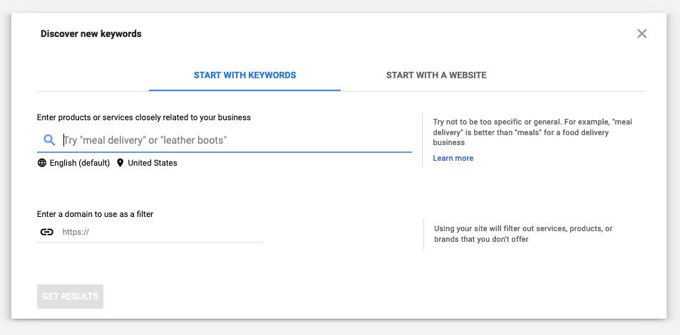 a screenshot of Google Keyword Planner's New Keyword Search functio