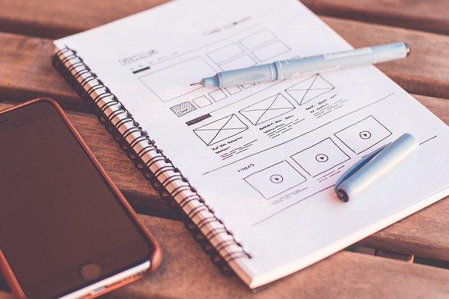 web design mockup on paper